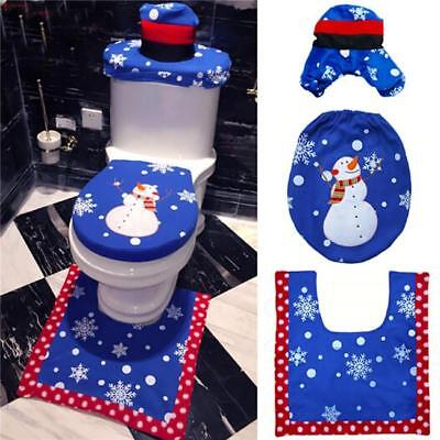 Super 3Pcs Xmas Santa Toilet Seat Cover Rug Set Christmas Bathroom Customarchery Wood Chair Design Ideas Customarcherynet