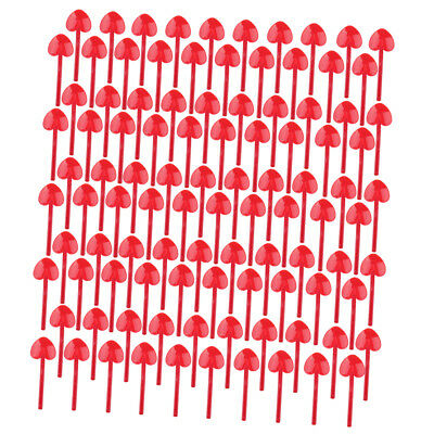 100 Pcs Disposable Heart Dessert Cake Party Spoon Plastic Tableware, Red