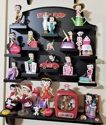 Betty Boop Lot of Figurines with wall rack