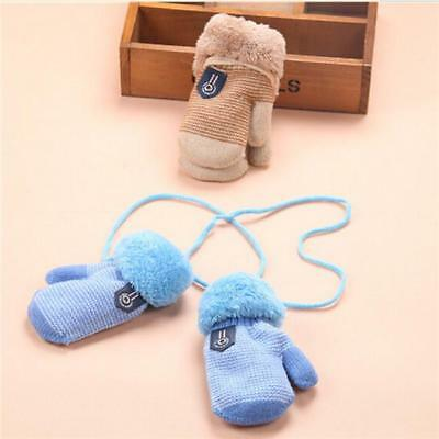 Winter Toddler Baby Boy Girl Kids Thick Fur Gloves Mittens With Neck String - L
