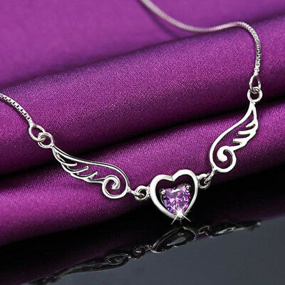 Women Silver Necklace Dream Angels Wings of Love Heart Necklace Gift L