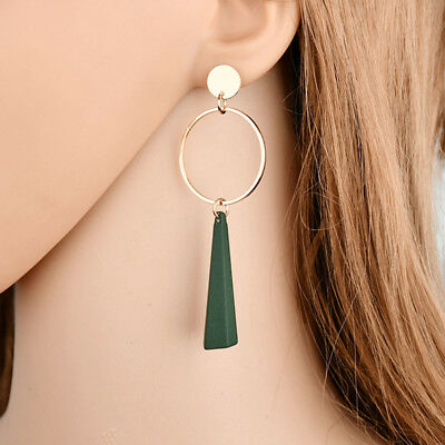 Women Fashion Big Circle Long Drop Dangle Ear Stud Earring Jewelry L