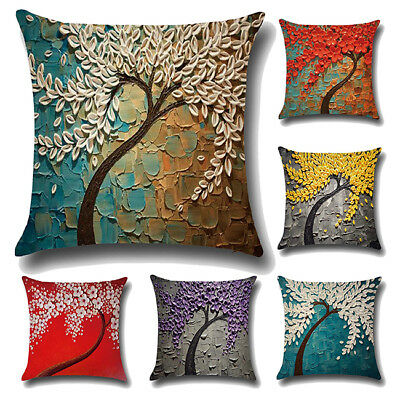 Elegant Square Flax Oil Painting Tree Flowers Pillow Cover Decoration L