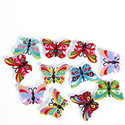 50Pcs Butterfly Wood Button 2 Holes Mixed Color Scrapbooking DIY Sewing Craft L