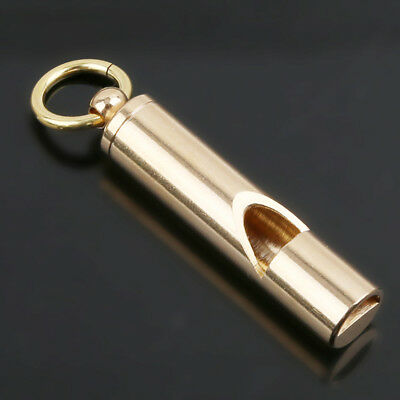Outdoor EDC Solid Brass Survival Whistle Emergency Fire whistle Tool Key Ring