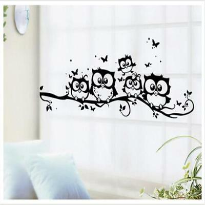Cute Mural Wall Stickers Decal Owl Birds Branch Removable Decor Kids Baby Room L