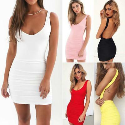 Women Party Cocktail Mini Dress Sleeveless Backless Bodycon Clubwear Sexy L