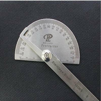 1x Stainless Steel Round Head Rotary Protractor Angle Ruler Finder Measuring L