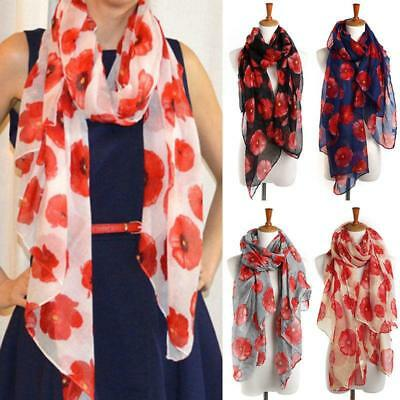 2018 Fashion Poppy Flower Wrap Floral Maxi Sarong Voile Warm Scarf 180*90 cm L
