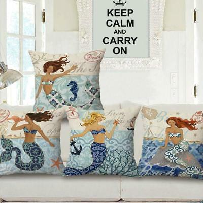 1pc Cotton linen Sofa Cushion Cover Set Mermaid Throw Pillow Case Home Decor L
