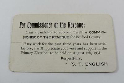 Vintage 1931 ad. for Commissioner of Revenue for Bedford Co Va S.T. English