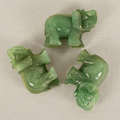 Natural Carved Elephant Gemstone Stone Crystal Figurine Ornaments Green L