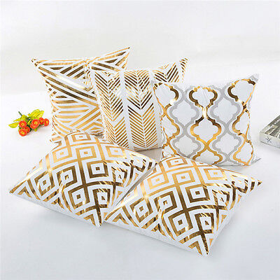 Square Shape Gold Foil Printing Pillow Sofa Cover Supplies L