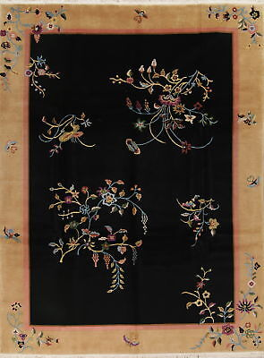 One-Of-A-Kind Floral Black Art Deco Chinese Oriental Hand-Knotted Area Rug 9x12
