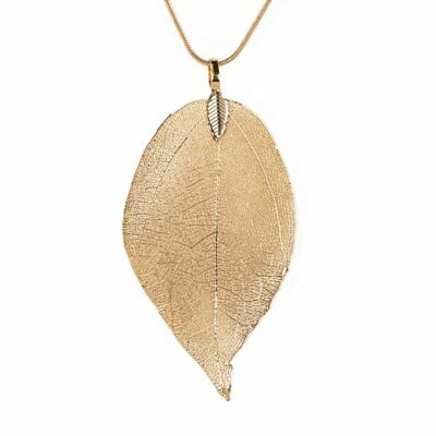 Fashion Leaf Feather Pendant Necklace Sweater Chain Jewelry Women Party Gift