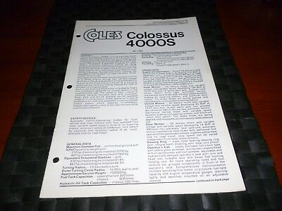 Coles Cranes Colossus 4000S Technical Specification 8002/3/76 *as Pictures*