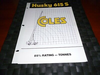 Coles Cranes Husky 615 S Duty Sheet 1754/4/83 *as Pictures*