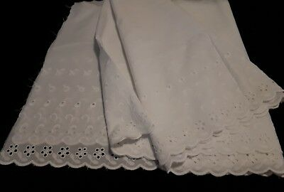 1 Piece 3 Mts X 40 Cms Of White Broderie Anglaise