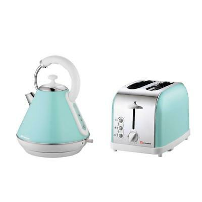 1.8L Cordless Electric Kettle and 2 Two Slice Wide Slot Toaster Set Seafoam