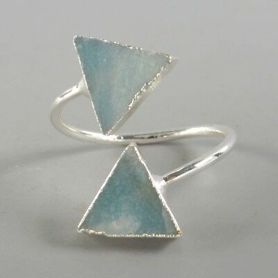 Size 5.5 Natural Amazonite Adjustable Ring Silver Plated T073637