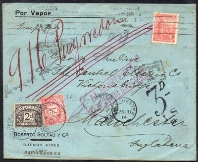 Argentina (Buenos Aires) to England (Manchester), 1914,taxed,printed matter rate