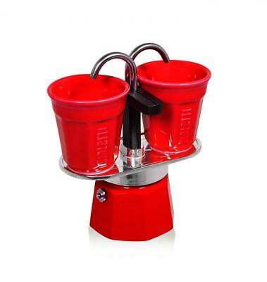 Bialetti 0006190 Set Mini Express 2 Tasses + 2 Bicchierini Rouge Aluminium...