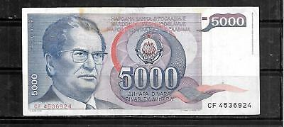YUGOSLAVIA #93a 1985 GOOD USED OLD 5000 DINARA BANKNOTE PAPER MONEY CURRENCY