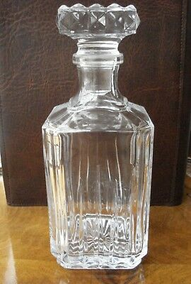 1 x CUT GLASS RIDGED DECANTER FOR BRANDY, WHISKY, PORT, SHERRY OR WINE