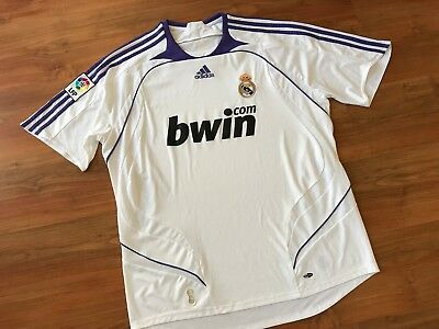 Mens White ADIDAS REAL MADRID HOME FOOTBALL SHIRT (XL) *GREAT COND*