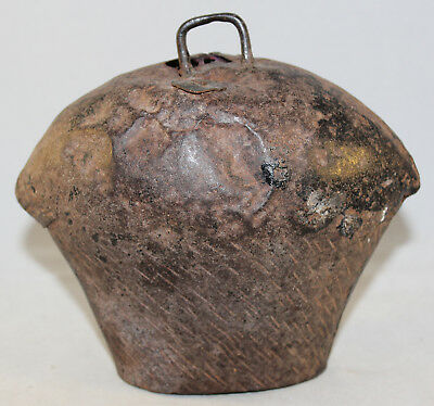 "Antique Original Large Hand Forged Iron Cow Bell 6"" Tall x 7"" Wide"
