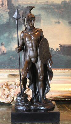 Military Soldier Spartan Gladiator Spear Shield Bronze Marble Statue Sculpture
