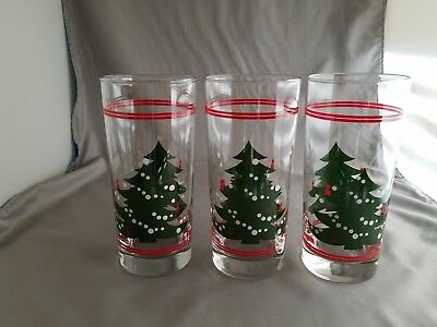 3 WAECHTERSBACH CHRISTMAS TREE GLASSES 6 1/4 Tall Drink Holiday Tumblers Retired