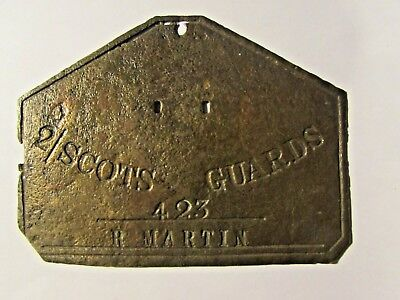 The Scots Guaeds Brass Name Plate 423 R Martin Solid Brass ?