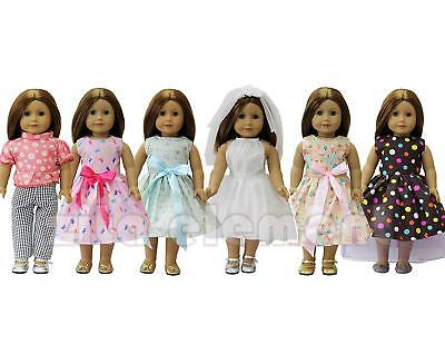 6Set Daily Clothes Wedding Dress Costume Gown Outfit for American 18'' Girl Doll