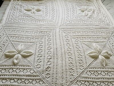 New Xlarge Baby Shawl Hand Knit In Baby Double Knitting Yarn Approx 5Ft Sq