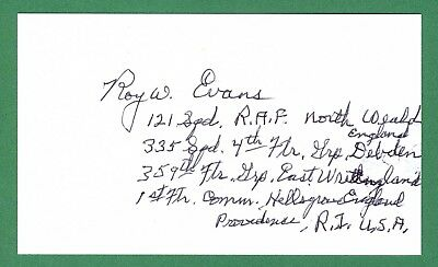 Roy Evans DECEASED WWII Pilot Ace-6 Signed 3x5 Index Card E17304