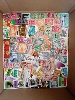 BOX OF STAMPS USED MM ON/OFF PAPER WORLDWIDE GOOD SORT APPROX 450g  INC  BOX