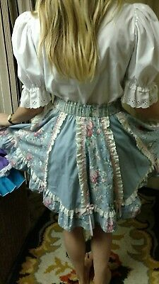 Square Dance Outfit white blouse & blue skirt w/pink ribbon & white eyelet sz 12