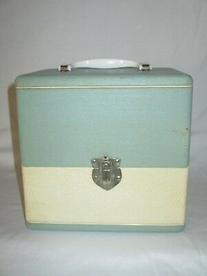 VINTAGE 1950's COLUMBIA SOLID WOOD RECORD CARRY CASE VINYL 45 RPM STORAGE TOTE!