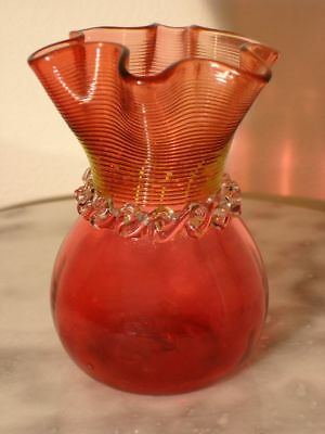 Victorian Stevens & Williams Cranberry or Ruby Machine Threaded Art Glass Vase