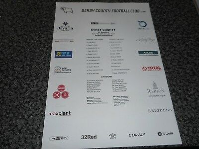 DERBY COUNTY  v  READING  2018/19  JAN 19th     *****MINT COLOUR TEAM SHEET*****