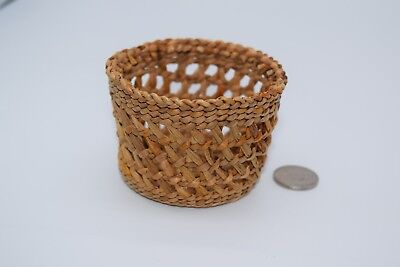 Northwest Chehalis Indian Small Basket Open Weave Native American Hazel Pete