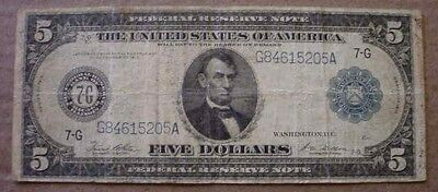 1914 U.S. Blue Seal $5 Five Dollar Federal Reserve Note Bill