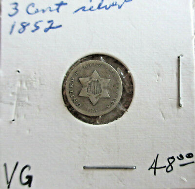 1852 Silver Three-Cent Piece Circulated Condition Very Good