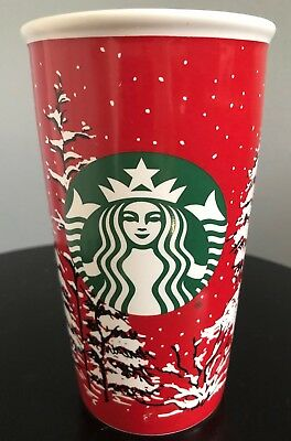 2016 Starbucks Holiday Green Red Ceramic Tumbler Christmas Snowy Trees