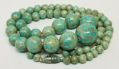Antique Vintage Art Deco Turquoise Like Gemstone or Fancy Glass? Bead Necklace