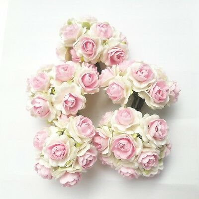 50 Rose White Pink Mulberry Paper Flower Miniature Craft Scrapbook Card Wedding