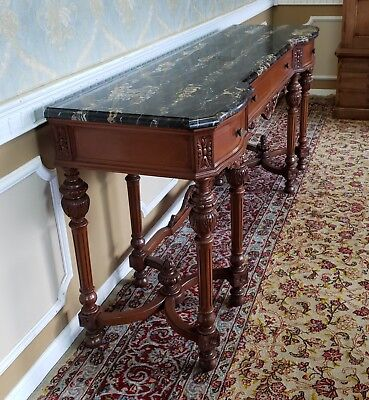 Antique Inlaid Walnut 1920s Marble Top Dining Room Console Sideboard