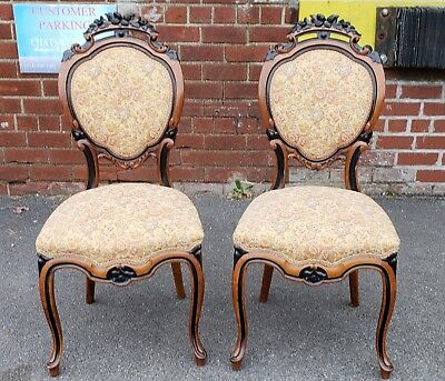 Pair Antique 19th C. Satinwood & Ebony Carved Victorian Parlour Chairs c.1880