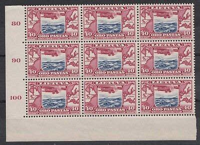 Lithuania, Darius And Girenas Flight Nh Stamps In Nh Corner Block Of 9